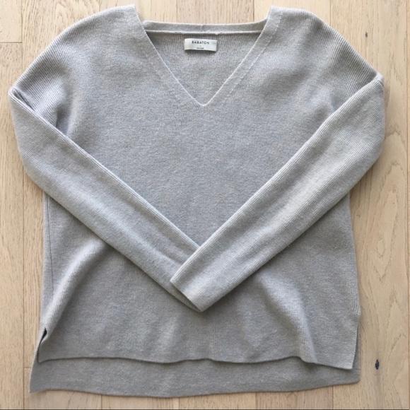 Babaton V Neck merino wool sweater